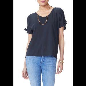 NWT NYDJ Black Tie Sleeve Tee T-shirt L